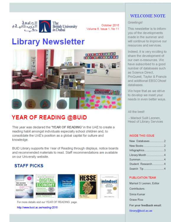 Library Newsletter_Vol 6 Issue 1 No 11_Oct 2016