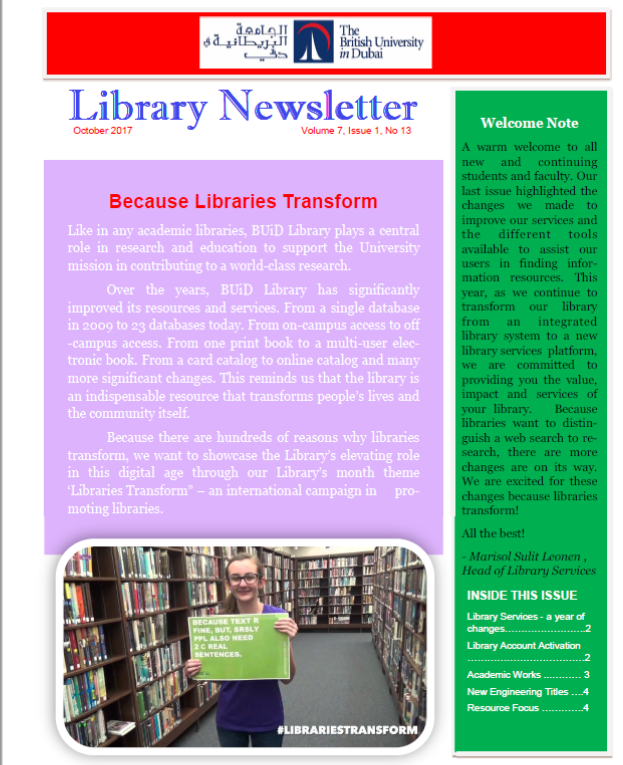 Library Newsletter_Vol 7 Issue 1 No 13_Oct 2017