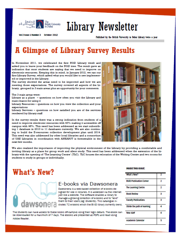 Library Newsletter_Vol 2 Issue 1_October 2012