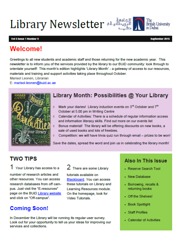 Library Newsletter_Vol 5 Issue 1 No 9_Sep 2015