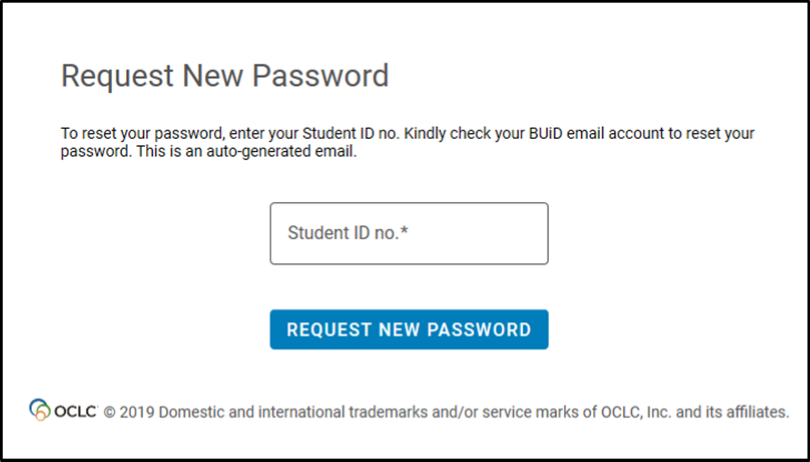 Request new password and reset library account