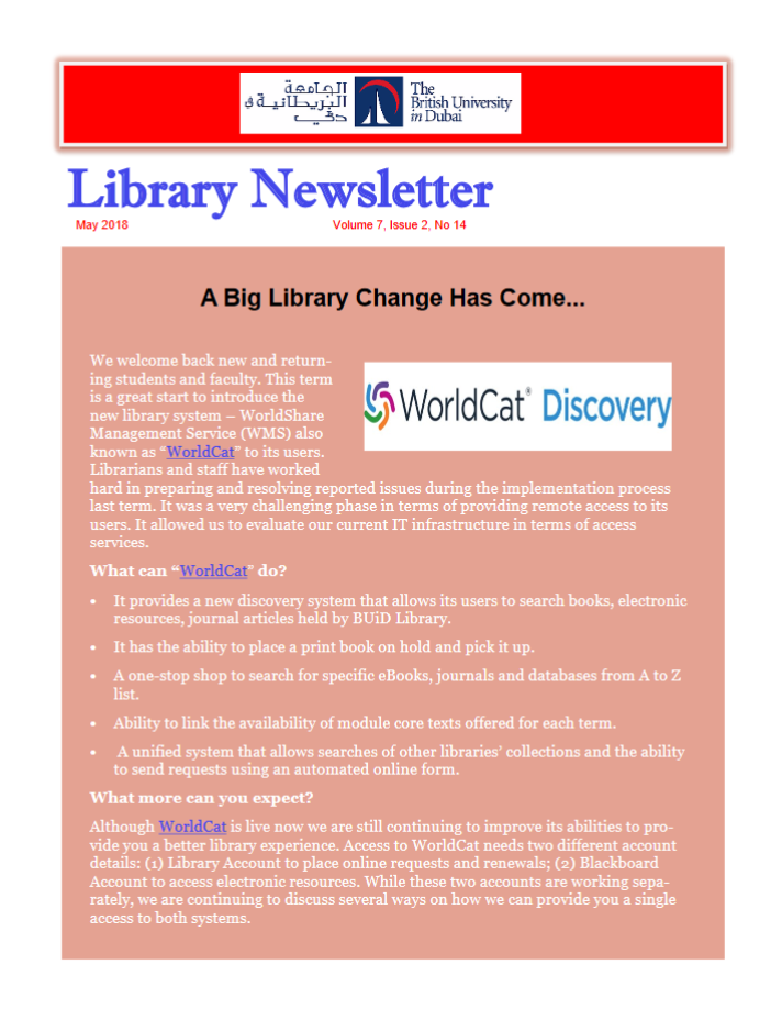 Library Newsletter_Vol 7 Issue 2 No 14_May 2018