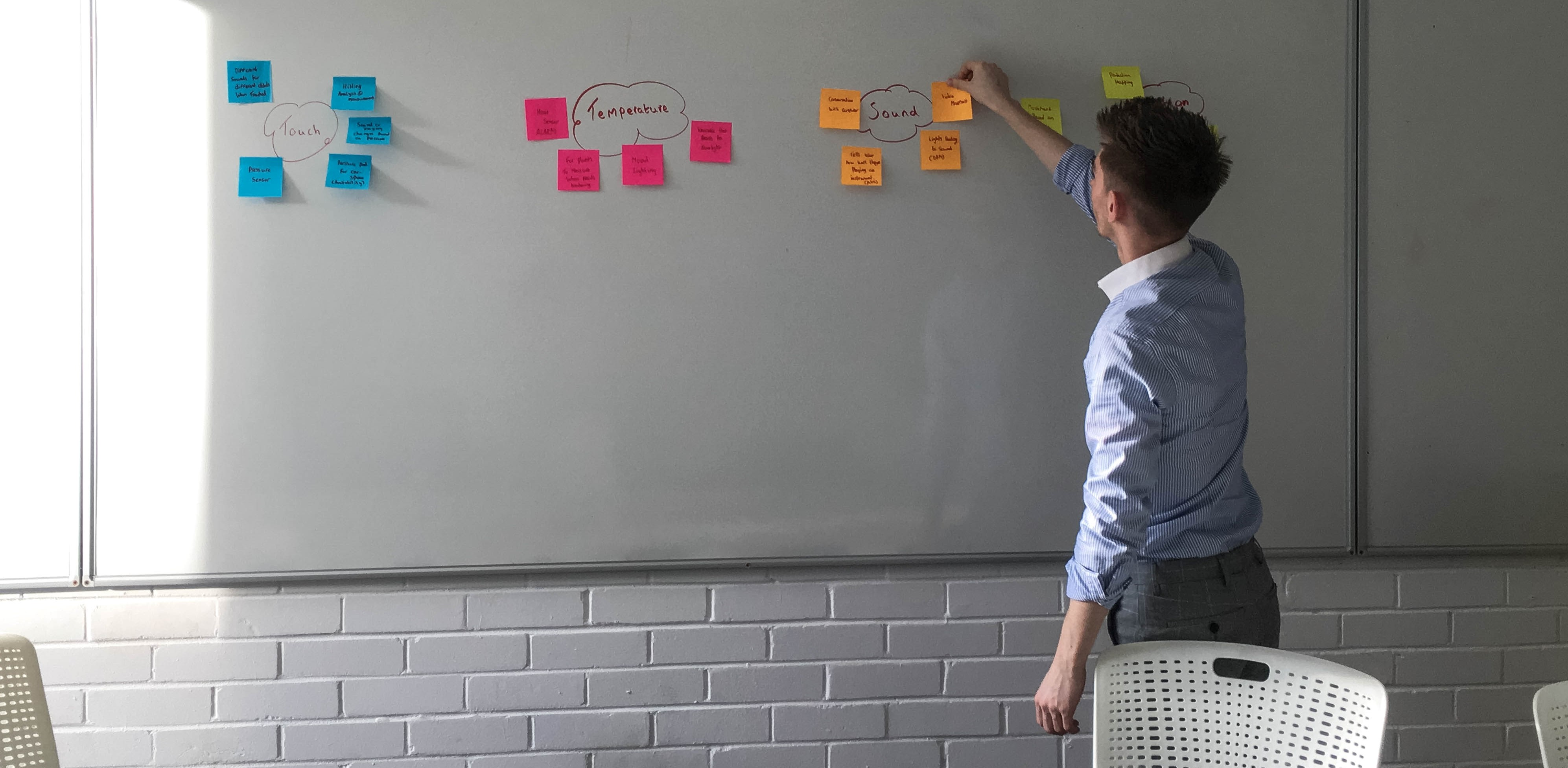 A man organizing post it notes on a white board