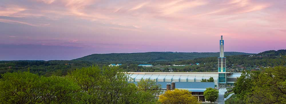 Ithaca College A&E Center at dusk