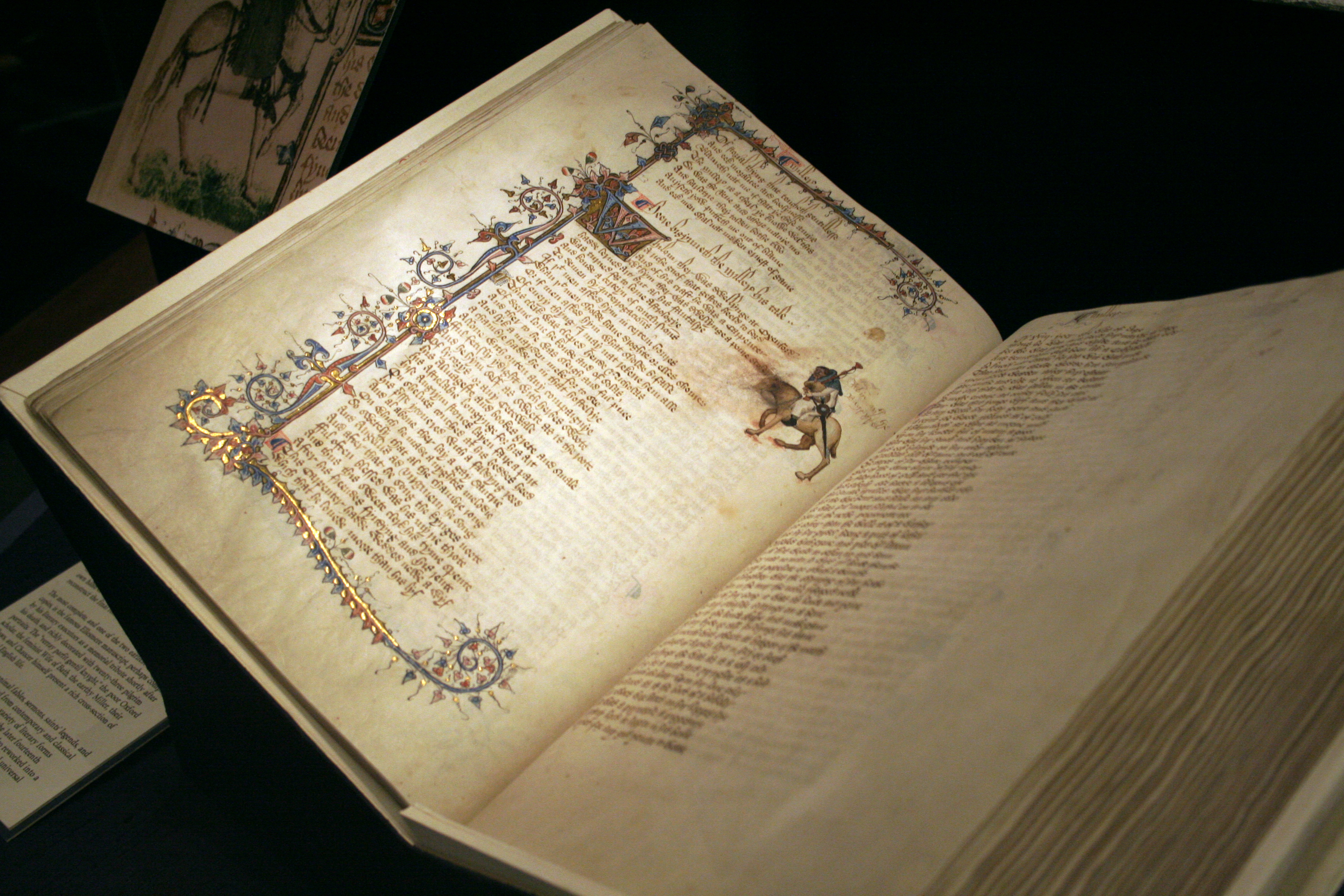 Image of open book page displaying the Canterbury Tales