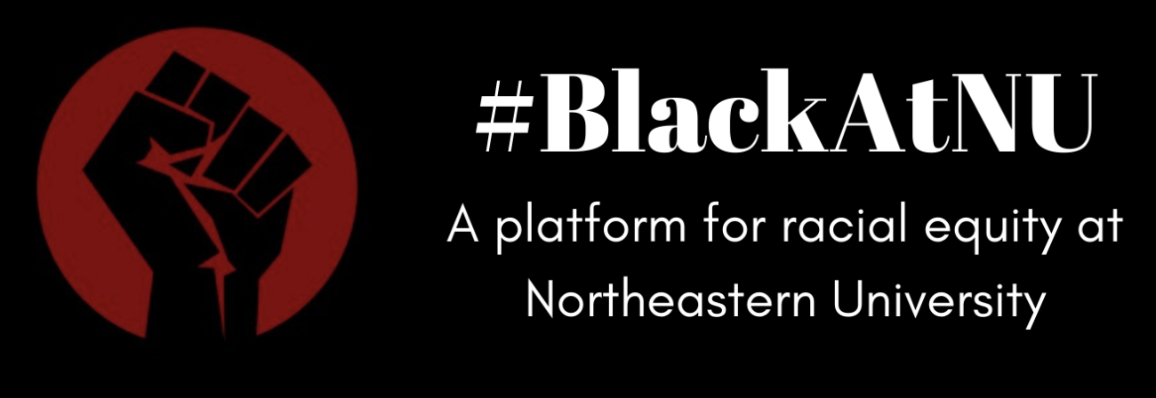 Red fist with hashtag: #BlackAtNU