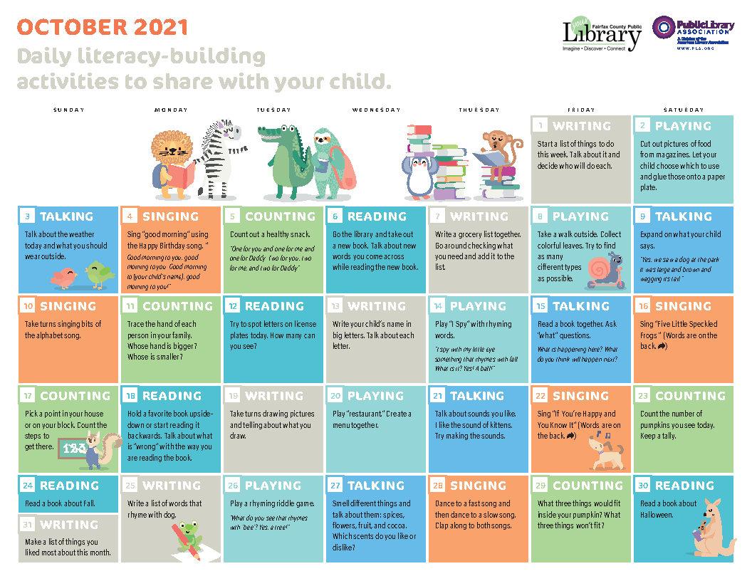 October 2021 Early Literacy Calendar Image