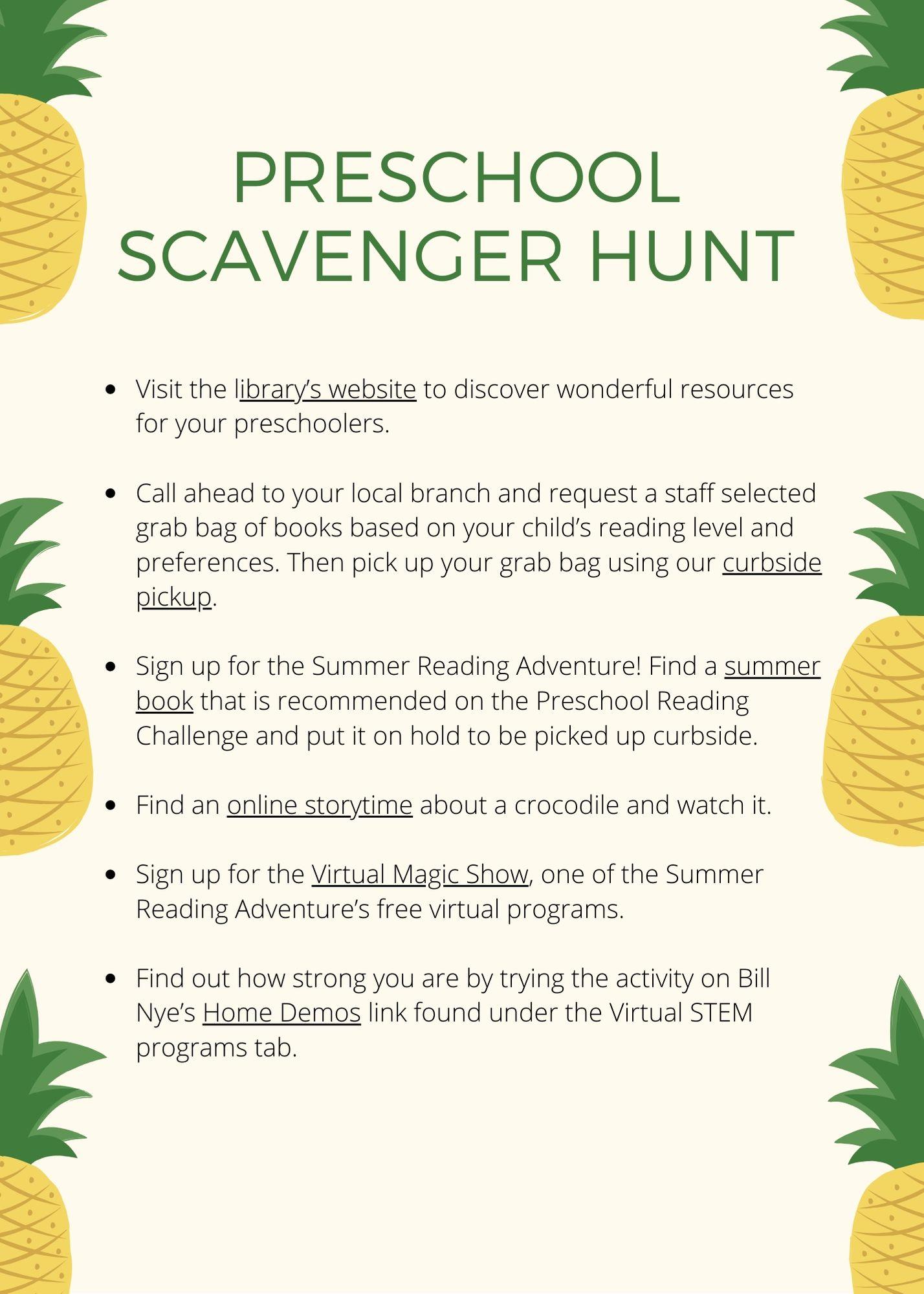 Summer Preschool Scavenger Hunt