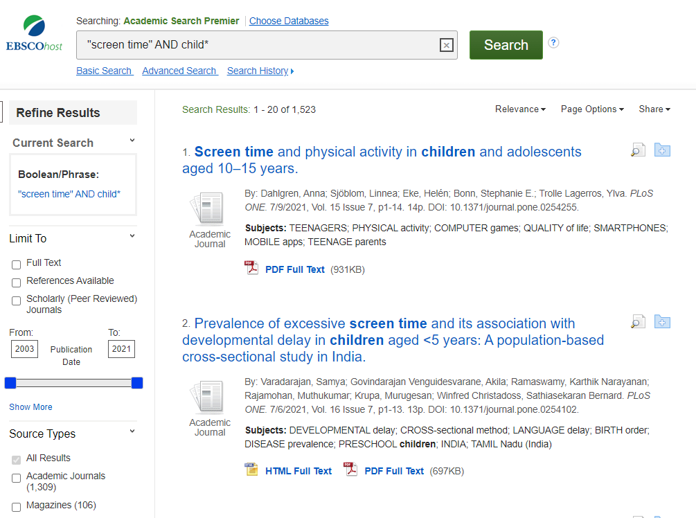 """Image of search results for """"screen time"""" AND child*."""