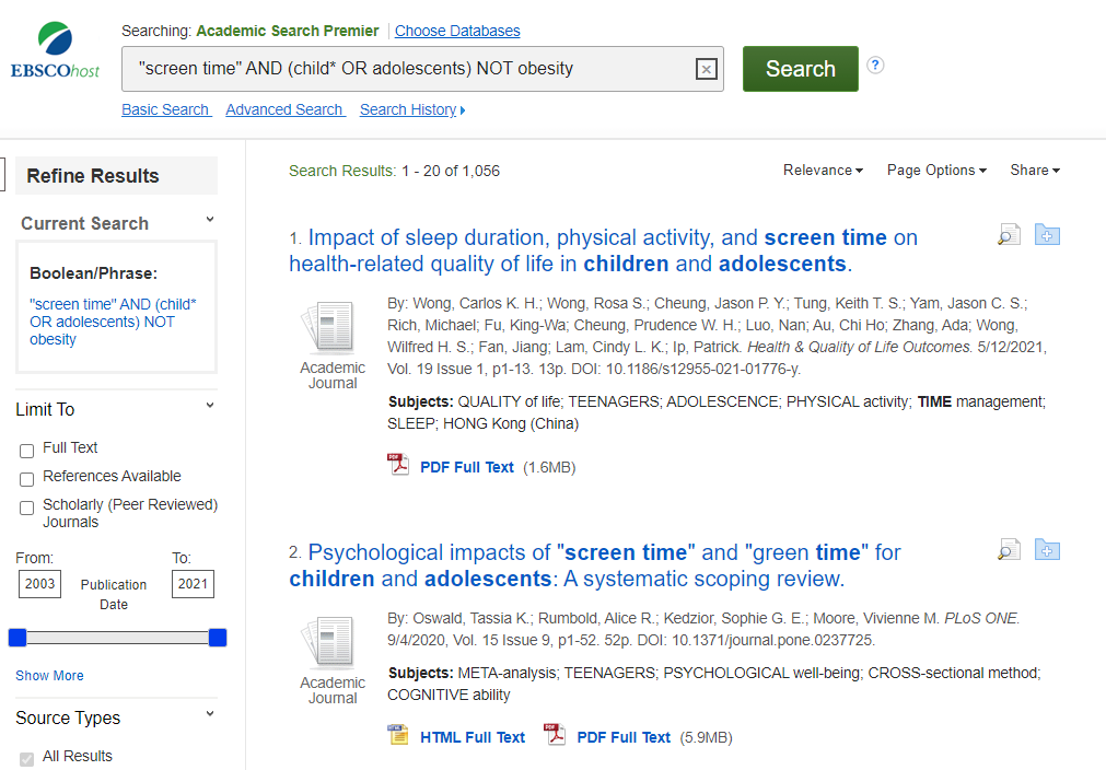"""Image of search results for """"screen time"""" AND (Child* OR adolescents) NOT obesity."""