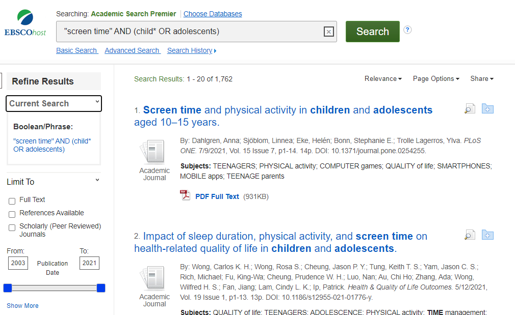 """Image of search results for """"screen time"""" AND (child* OR adolescents)"""