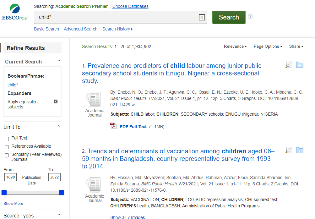 Image of search results for children truncated as child*.