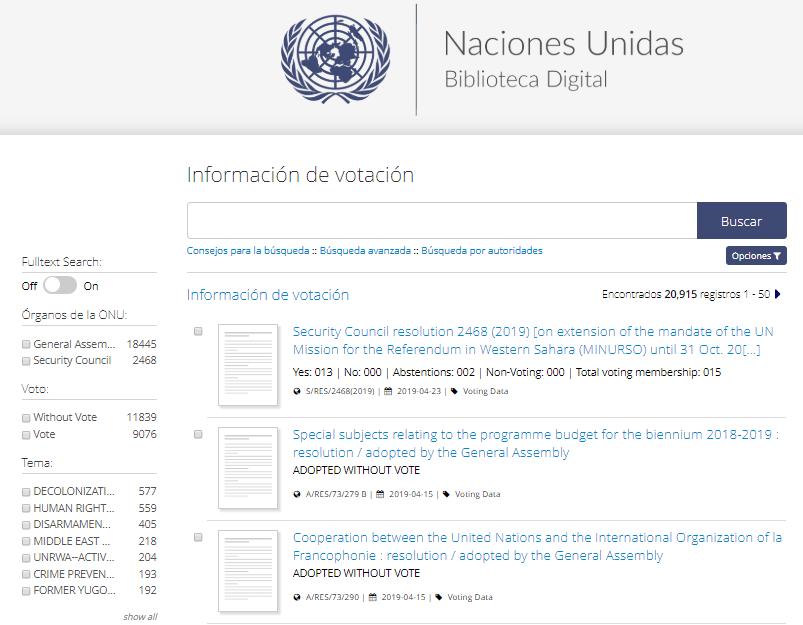 Screenshot votación del sitio web de la biblioteca digital de la ONU