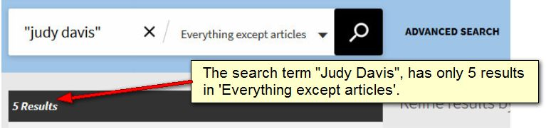 Judy Davis search - Everything except articles. Returns 5 results