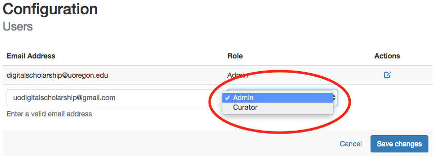 role dropdown menu circled in red with 'admin' highlighted