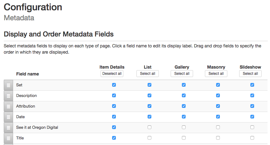 screenshot of metadata page