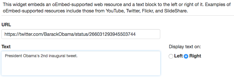 screenshot of embed+text widget with a twitter URL