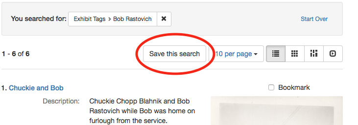 screenshot of search results pages with save this search circled in red