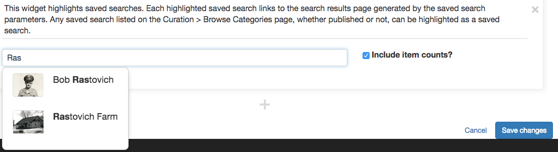 screenshot of saved search widget with text entered and a dropdown menu appearing