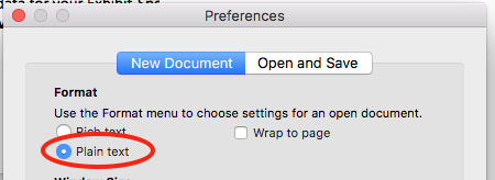 screenshot of textedit preferences with plain text selected and circled in red