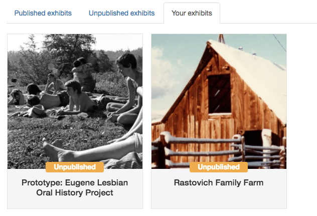 Thumbnails of digital exhibits on the 'your exhibits' tab