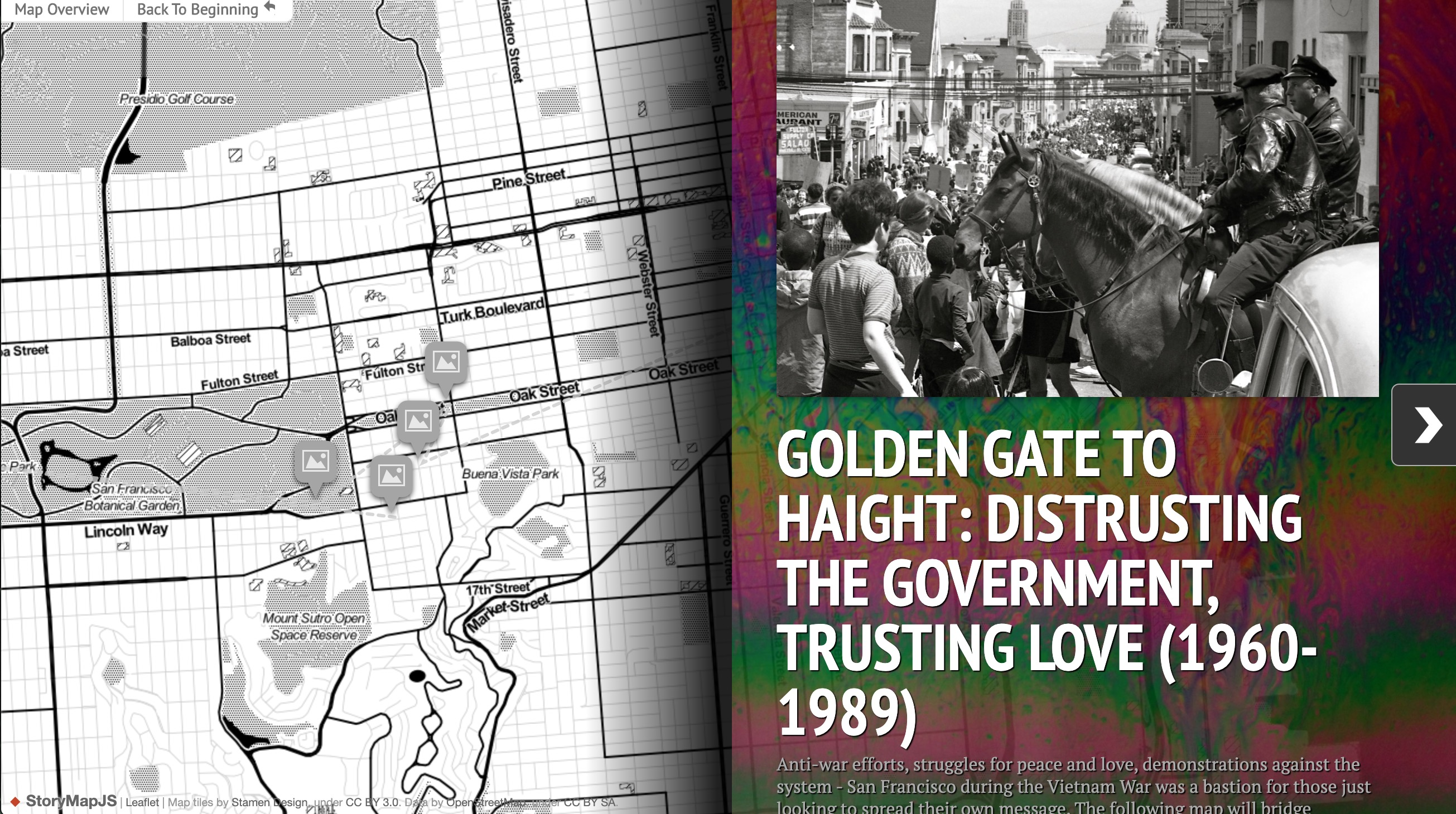 Screenshot of the StoryMapJS Golden Gate to Haight: Distrusting the Government, Trusting Love (1960-1989)