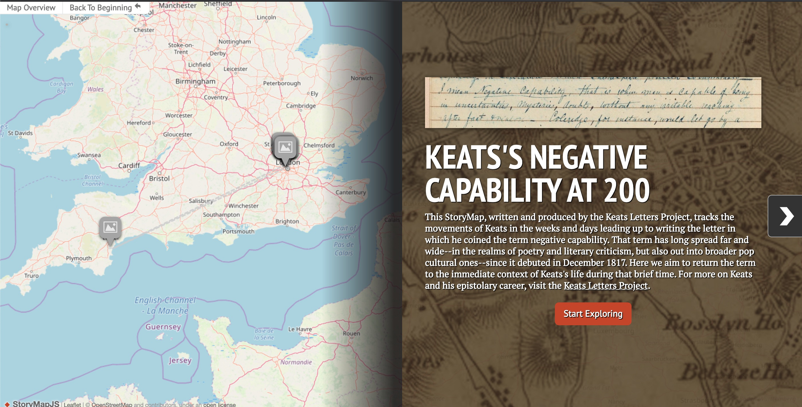 Screenshot of Keats's Negative Capabilities at 200