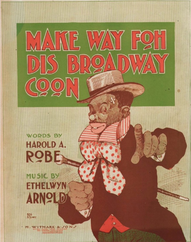 Caricature of African-American man in top hat with cane. Outfit consists of an upturned striped collar with puffy polka-dot bowtie, black coat with tails and red vest over green striped pants. Title in red ink on green background, other writing in green and black ink on offwhite vertically striped paper.