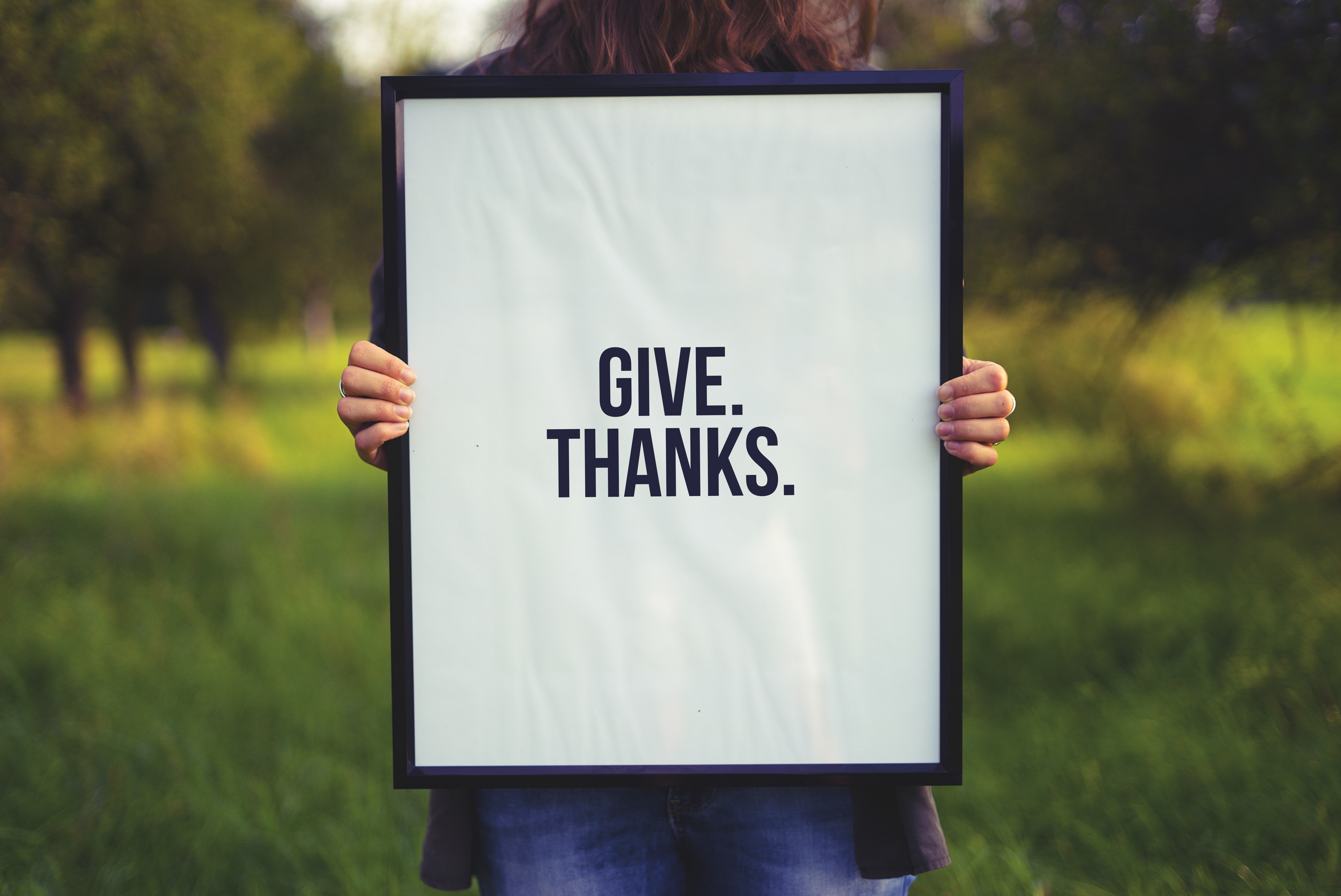 "A photo of someone holding a sign that says ""Give Thanks""."