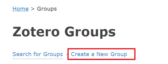 Zotero Create a New Group