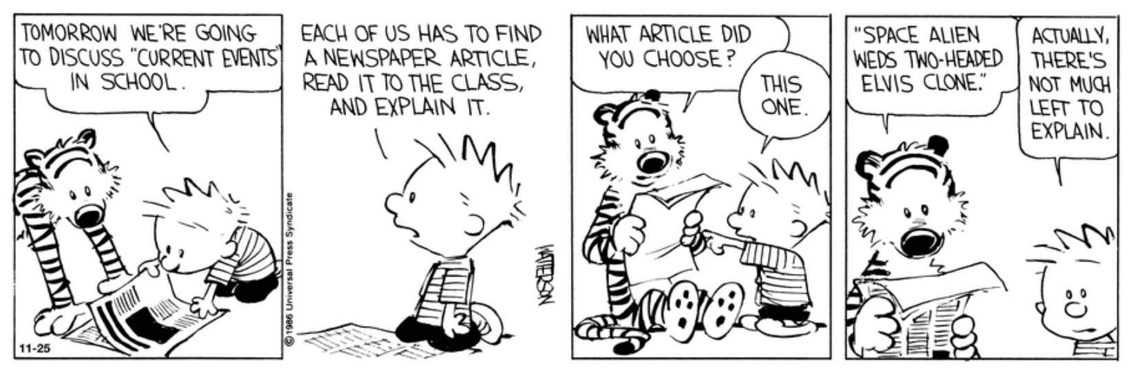 Calvin and Hobbes Cartoon