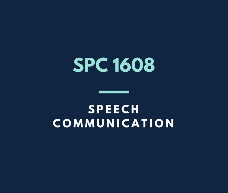 Click here for the guide to SPC 1608 Speech Communication