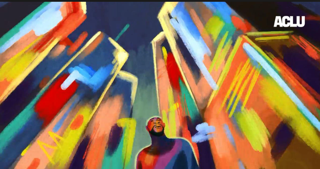 Illustration from Mass Incarceration: The Animated Series. A man is in the center of the image surrounded by high-rise buildings.