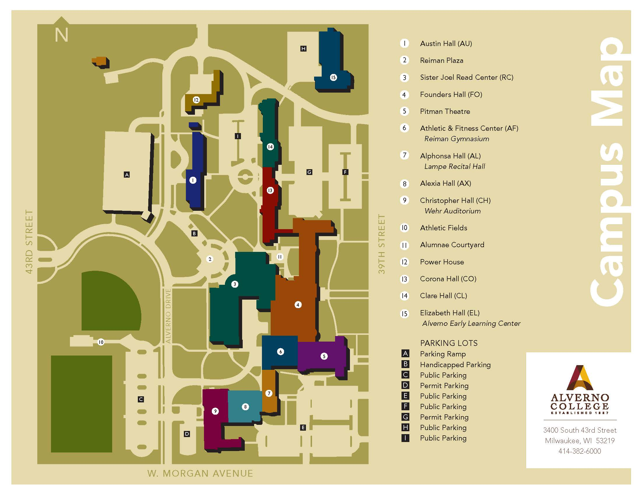 This 2015 Alverno campus map is in color and includes Alexia Hall.