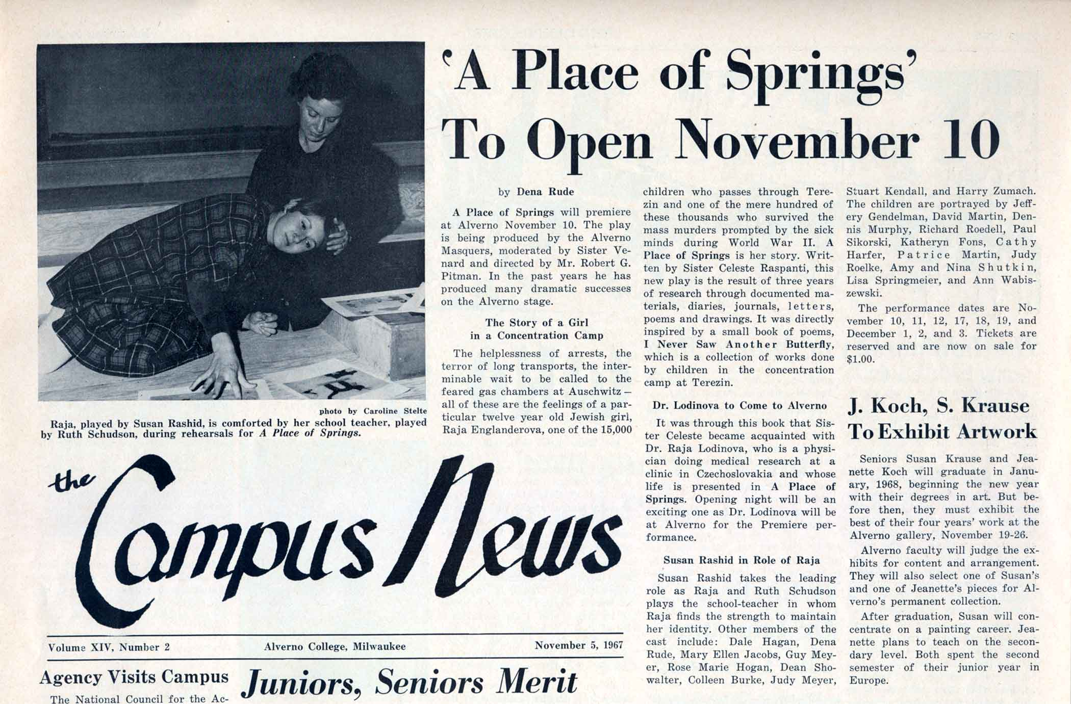 "Alverno Campus News article from November 5, 1967 about the new play, ""A Place of Springs"""
