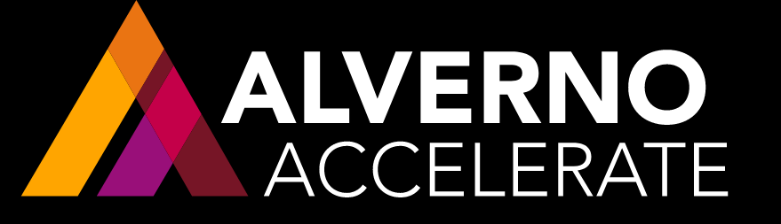 This is a color photo of the Alverno Accelerate logo