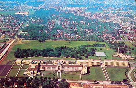 This is an aerial view of the Alverno college Campus. Note the tennis court in the background where Austin Hall stands today.