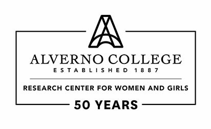 Thi sis a black and white logo created for the Research Center for Women and girls 50th anniversary.