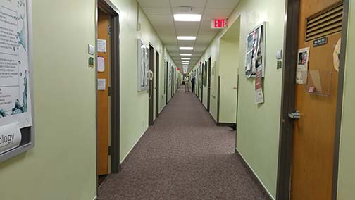 This is a photo of the Corona second floor hallway taken in fall 2018.
