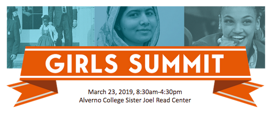 This is a photo of the cover for the flyer promoting the first annual State of Wisconsin Girls Sunnit held at Alverno on March 23, 2019.