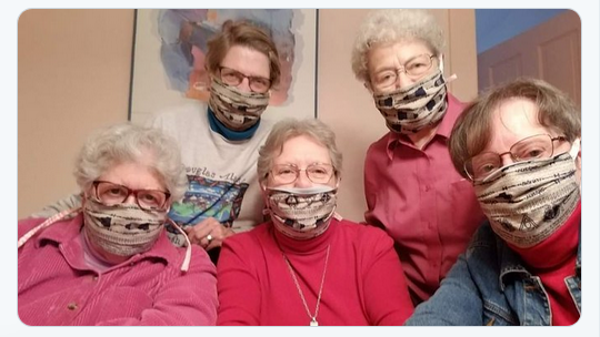This is a color photo of some Sisters wearing Alverno Centennial Cloth masks
