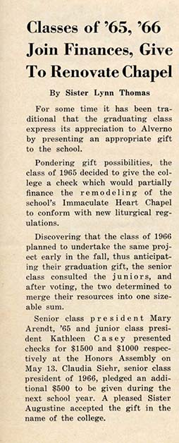 May 18, 1965 Alverno Campus News article about Chapel rennovation.