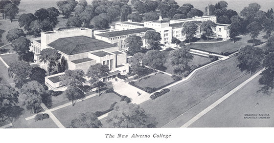 This is an architect's drawing of the originbal Alverno Campus buldings which includes the gymnasium, Pitman Theatre, Founders Hall, and Corona Hall. Not shown in the photo is the Power House which was also part of the original campus construction.
