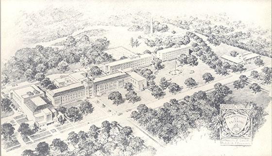 This is an architect's drawing of the Alverno Campus from 1957 that includes Alphonsa Hall, Clare Hall, and Elizabeth Hall along with the original campus construction.