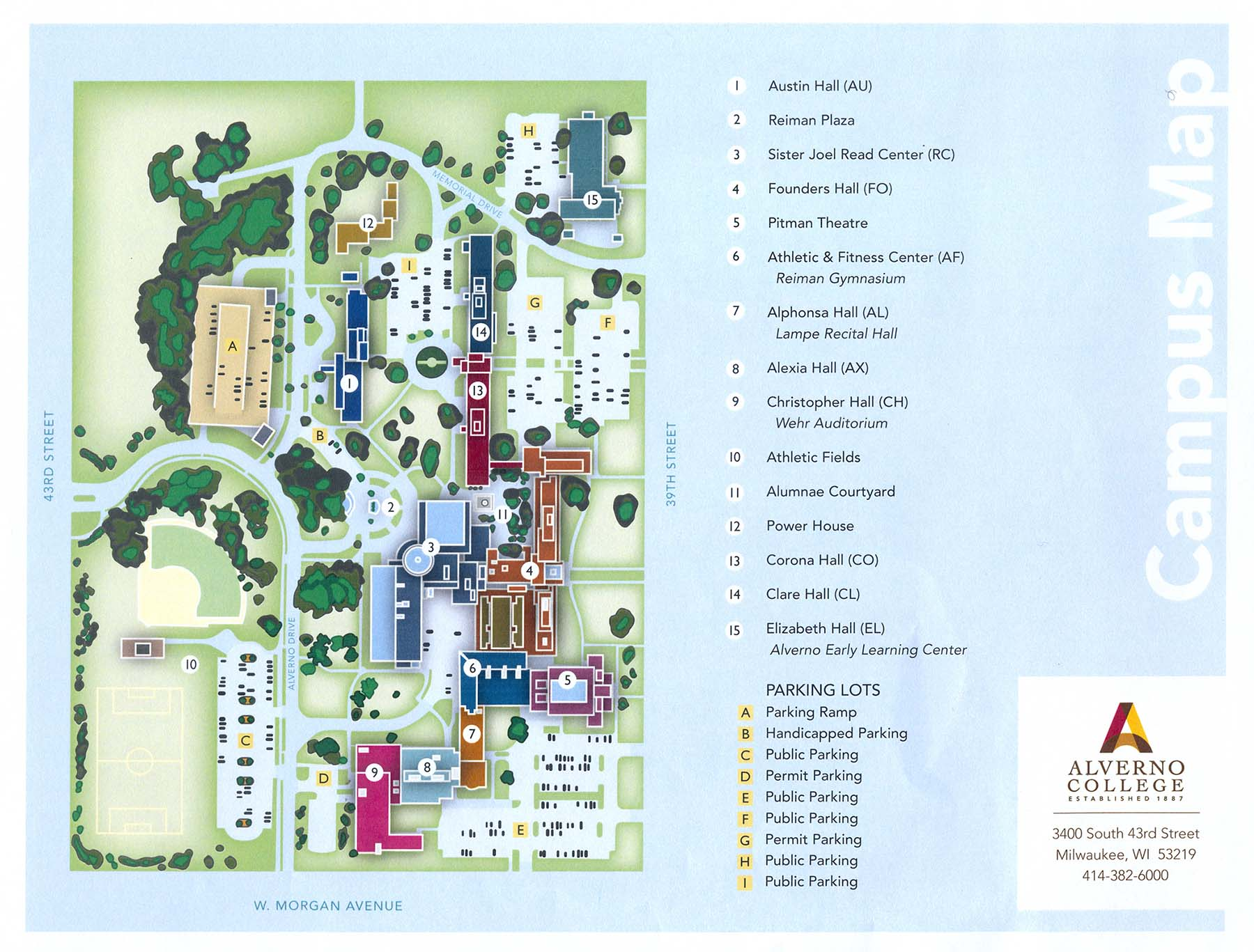 This is an Alverno College  campus map from 2019.