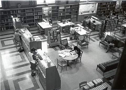 Aerial view of the Library Reading Room from the early 1970's
