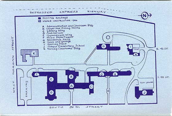 This is a 1967 map of the Alverno Campus which includes Austin Hall and Christopher Hall (while it was still under construction.)