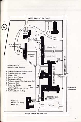 This is an Alverno campus map from 1976.