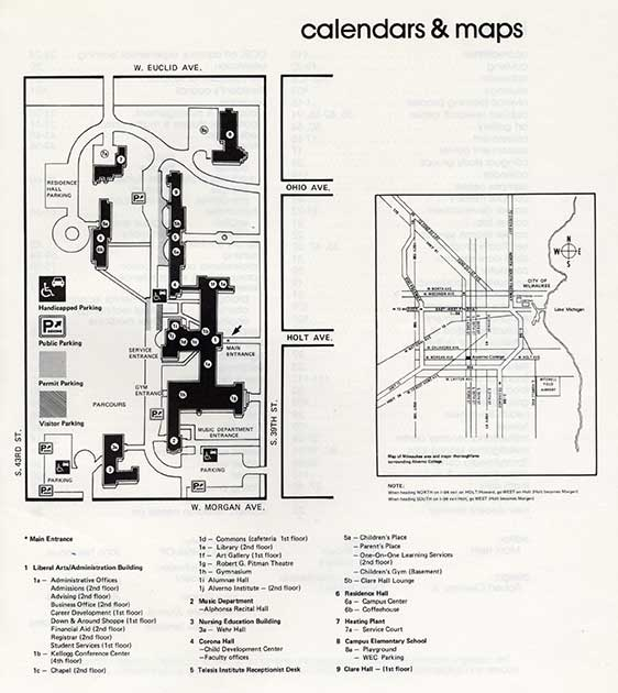 This is a 1982 Alverno campus map. On it Corona Hall is no longer shown as a residence hall and the auditrorium is called the Robert G. Pitman Theatre.