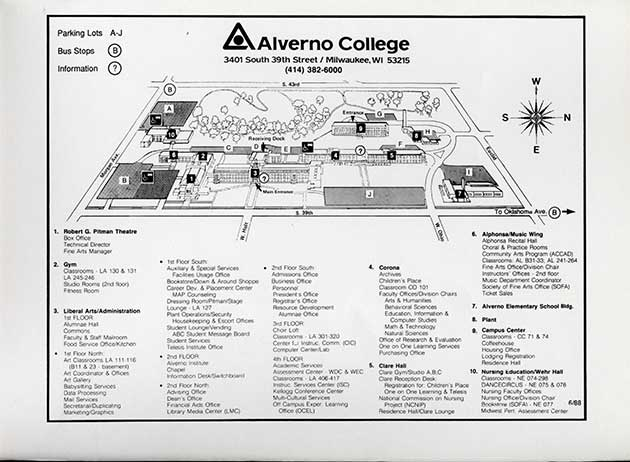 This is an Alverno campus map from 1988.